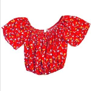 Forever 21 red floral crop top